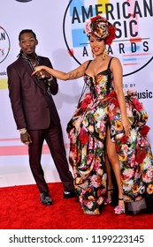 LOS ANGELES, CA. October 09, 2018: Offset & Cardi B at the 2018 American Music Awards at the Microsoft Theatre LA Live.