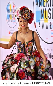 LOS ANGELES, CA. October 09, 2018: Cardi B at the 2018 American Music Awards at the Microsoft Theatre LA Live.