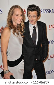 """LOS ANGELES, CA - OCTOBER 10, 2012: Helen Hunt & John Hawkes at the premiere of their movie """"The Sessions"""" at the LA County Museum of Art."""
