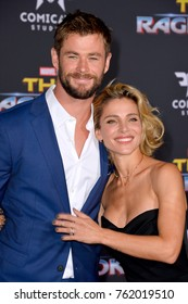 "LOS ANGELES, CA - October 10, 2017: Chris Hemsworth & Elsa Pataky at the premiere for ""Thor: Ragnarok"" at the El Capitan Theatre"