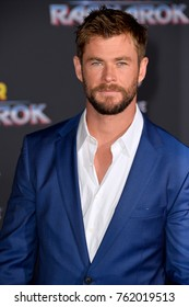 "LOS ANGELES, CA - October 10, 2017: Chris Hemsworth at the premiere for ""Thor: Ragnarok"" at the El Capitan Theatre"