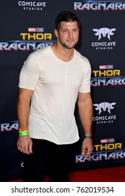 """LOS ANGELES, CA - October 10, 2017: Tim Tebow at the premiere for """"Thor: Ragnarok"""" at the El Capitan Theatre"""