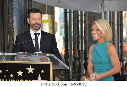 LOS ANGELES, CA - OCTOBER 12, 2015: TV personality Kelly Ripa & chat show host Jimmy Kimmel on Hollywood Boulevard where she was honored with the 2,561st star on the Hollywood Walk of Fame.