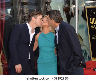LOS ANGELES, CA - OCTOBER 12, 2015: Kelly Ripa with Matt Bomer (left) & Ted McGinley on Hollywood Boulevard where she was honored with a star on the Hollywood Walk of Fame.