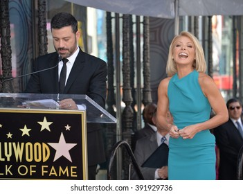 LOS ANGELES, CA - OCTOBER 12, 2015: Kelly Ripa & Jimmy Kimmel on Hollywood Boulevard where she was honored with a star on the Hollywood Walk of Fame.