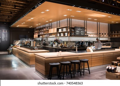 Los Angeles, CA: October 18, 2017:  Starbucks Reserve store in Los Angeles.  Starbucks has plans to open several hundred Starbucks Reserve stores in the world.