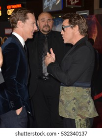 "LOS ANGELES, CA. October 20, 2016: Benedict Cumberbatch & Robert Downey Jr. at the world premiere of Marvel Studios' ""Doctor Strange"" at the El Capitan Theatre, Hollywood."