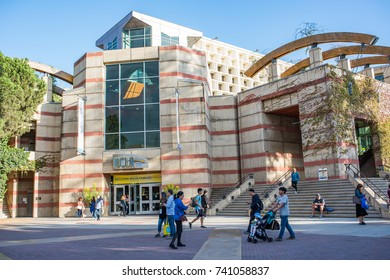 Los Angeles, CA: October 20, 2017: UCLA bookstore on the UCLA campus.  UCLA is a public university in the Los Angeles area with 30,873 undergraduates and 12,675 graduate students.