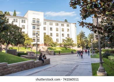 Los Angeles, CA: October 20, 2017:  Exterior of the UCLA resident halls. For 2017-2018, the cost of room and board in the UCLA resident halls is $15,143
