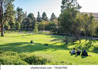Los Angeles, CA: October 20, 2017:  Wilson Plaza on the UCLA campus. UCLA is a public university in the Los Angeles area.