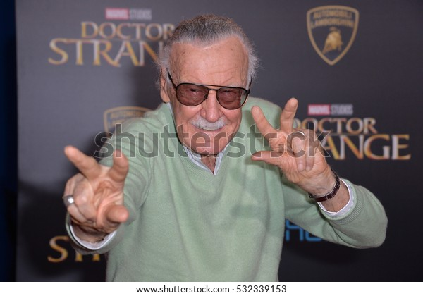 "LOS ANGELES, CA. October 20, 2016: Stan Lee at the world premiere of Marvel Studios' ""Doctor Strange"" at the El Capitan Theatre, Hollywood."