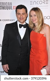 LOS ANGELES, CA - OCTOBER 21, 2014: Jimmy Kimmel & wife Molly McNearney at the 28th Annual American Cinematheque Award Gala honoring Matthew McConaughey at the Beverly Hilton Hotel.