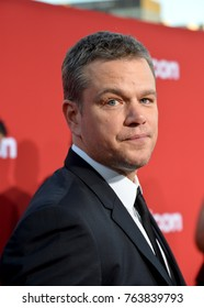 "LOS ANGELES, CA - October 22, 2017: Matt Damon at the premiere for ""Suburbicon"" at the Regency Village Theatre, Westwood"