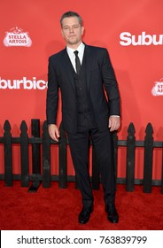 """LOS ANGELES, CA - October 22, 2017: Matt Damon at the premiere for """"Suburbicon"""" at the Regency Village Theatre, Westwood"""