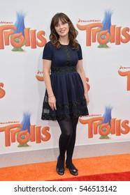 "LOS ANGELES, CA. October 23, 2016: Actress Zooey Deschanel at the Los Angeles premiere of ""Trolls"" at the Regency Village Theatre, Westwood."