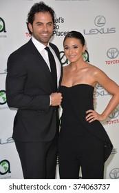 LOS ANGELES, CA - OCTOBER 24, 2015: Emmanuelle Chriqui & boyfriend Adrian Bellani at the 25th Annual Environmental Media Awards at Warner Bros. Studios, Burbank, CA.