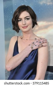 LOS ANGELES, CA - OCTOBER 26, 2014: Anne Hathaway at the Los Angeles premiere of her movie Interstellar at the TCL Chinese Theatre, Hollywood.