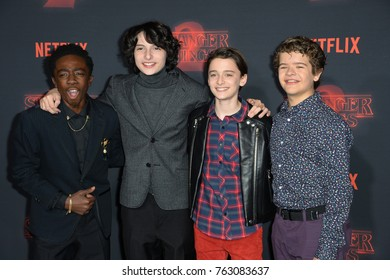 """LOS ANGELES, CA - October 26, 2017: Caleb McLaughlin, Finn Wolfhard, Noah Schnapp & Gaten Matarazzo at the premiere for Netflix's """"Stranger Things 2"""" at the Westwood Village Theatre"""