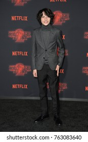 """LOS ANGELES, CA - October 26, 2017: Finn Wolfhard at the premiere for Netflix's """"Stranger Things 2"""" at the Westwood Village Theatre"""