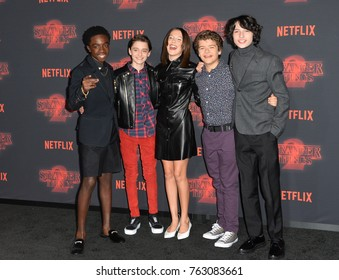 "LOS ANGELES, CA - October 26, 2017: Caleb McLaughlin, Noah Schnapp, Millie Bobby Brown, Gaten Matarazzo & Finn Wolfhard at the premiere for Netflix's ""Stranger Things 2"""