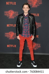 """LOS ANGELES, CA - October 26, 2017: Noah Schnapp at the premiere for Netflix's """"Stranger Things 2"""" at the Westwood Village Theatre"""