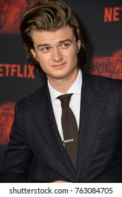 "LOS ANGELES, CA - October 26, 2017: Joe Keery at the premiere for Netflix's ""Stranger Things 2"" at the Westwood Village Theatre"