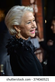 """LOS ANGELES, CA - OCTOBER 27, 2015: Dame Helen Mirren at the US premiere of her movie """"Trumbo"""" at the Academy of Motion Picture Arts & Sciences, Beverly Hills."""