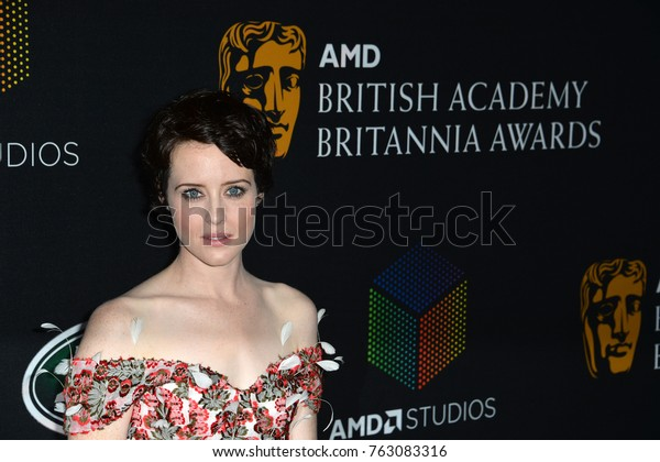 LOS ANGELES, CA - October 27, 2017: Claire Foy  at the 2017 AMD British Academy Britannia Awards at the Beverly Hilton Hotel