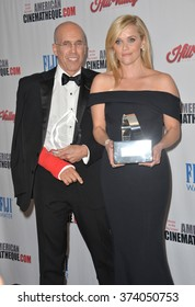 LOS ANGELES, CA - OCTOBER 30, 2015: Reese Witherspoon & Jeffrey Katzenberg at the American Cinematheque 2015 Award Show at the Hyatt Regency Century Plaza Hotel.
