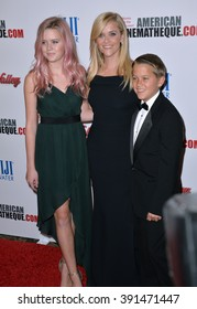 LOS ANGELES, CA - OCTOBER 30, 2015: Actress Reese Witherspoon with children Ava Elizabeth Phillippe & Deacon Phillippe at the American Cinematheque 2015 Award Show at the Century Plaza Hotel