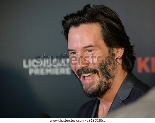 """LOS ANGELES, CA - OCTOBER 7, 2015: Actor Keanu Reeves at the Los Angeles premiere of his movie """"Knock Knock"""" at the TCL Chinese Theatre, Hollywood."""