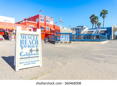 LOS ANGELES, CA - OCTOBER 8, 2015: Muscle Beach gym on Venice Beach, CA. Muscle Beach is a landmark, outdoor gym dating back to the 1930's where celebrities and famous bodybuilders trained.