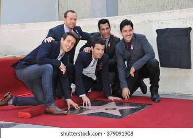 LOS ANGELES, CA - OCTOBER 9, 2014: Pop group New Kids On The Block - Jordan Knight, Jonathan Knight, Donnie Wahlberg, Joey McIntyre & Danny Wood - honored with a star on the Hollywood Walk of Fame.