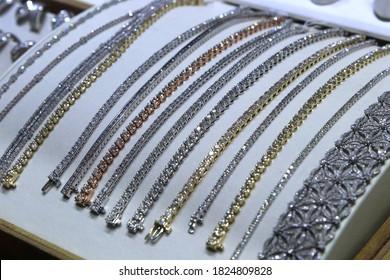 Los Angeles CA Sept 12, 2020 Diamond Tennis Bracelets on display.