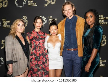 "Los Angeles, CA - Sept 21, 2019: Emma Hunton, 1, Cierra Ramirez, Josh Pence and Zuri Adele attend the Los Angeles LGBT Center's Gold Anniversary Vanguard Celebration ""Hearts Of Gold"""