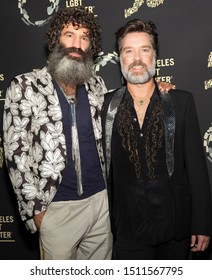 """Los Angeles, CA - Sept 21, 2019: Jorn Weisbrodt and Rufus Wainwright attend the Los Angeles LGBT Center's Gold Anniversary Vanguard Celebration """"Hearts Of Gold"""" at The Greek Theatre"""