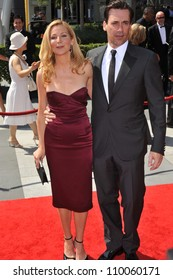 LOS ANGELES, CA - SEPTEMBER 12, 2009: Jon Hamm & Jennifer Westfeldt at the 2009 Creative Arts Emmy Awards at the Nokia Theatre L.A. Live.
