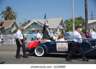 LOS ANGELES, CA- SEPTEMBER 12: Tenor Placido Domingo (C) participates at the East L.A. Mexican Independence Day Parade, September 12, 2010 in Los Angeles, CA.