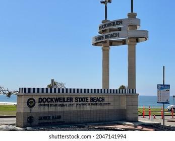 Los Angeles, CA: September 14, 2021:  Dockweiler State Beach on a sunny day.  Dockweiler State Beach was founded in 1948.