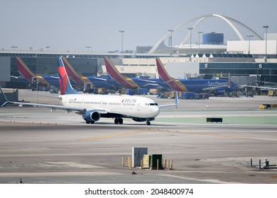 Los Angeles, CA: September 14, 2021:  A Delta Airlines passenger jet at Los Angeles International Airport (LAX).  Delta Airlines was founded in 1925.