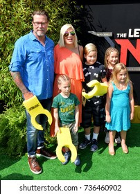 """LOS ANGELES, CA - September 16, 2017: Tori Spelling, Dean McDermott & Family at the premiere for """"The Lego Ninjago Movie"""" at the Regency Village Theatre, Westwood"""