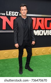 """LOS ANGELES, CA - September 16, 2017: Justin Theroux at the premiere for """"The Lego Ninjago Movie"""" at the Regency Village Theatre, Westwood"""
