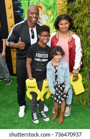 """LOS ANGELES, CA - September 16, 2017: Terry Crews & Children at the premiere for """"The Lego Ninjago Movie"""" at the Regency Village Theatre, Westwood"""