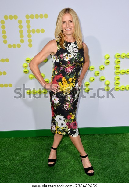 """LOS ANGELES, CA - September 16, 2017: Elisabeth Shue at the premiere for """"Battle of the Sexes"""" at the Regency Village Theatre, Westwood"""
