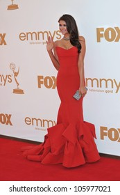 LOS ANGELES, CA - SEPTEMBER 18, 2011: Nina Dobrev arriving at the 2011 Primetime Emmy Awards at the Nokia Theatre L.A. Live in downtown Los Angeles. September 18, 2011  Los Angeles, CA