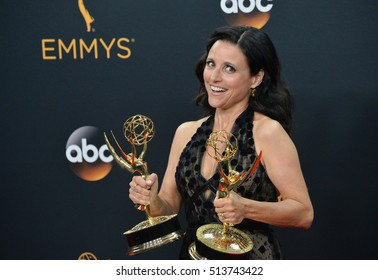 LOS ANGELES, CA. September 18, 2016: Actress Julia Louis-Dreyfus at the 68th Primetime Emmy Awards at the Microsoft Theatre L.A. Live.