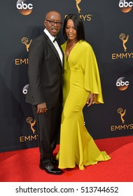 LOS ANGELES, CA. September 18, 2016: Actor Courtney B. Vance & actress wife Angela Bassett at the 68th Primetime Emmy Awards at the Microsoft Theatre L.A. Live.