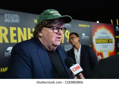 "LOS ANGELES, CA. September 19, 2018: Michael Moore at the Los Angeles premiere for Michael Moore's ""Fahrenheit 11/9"" at the Samuel Goldwyn Theatre."