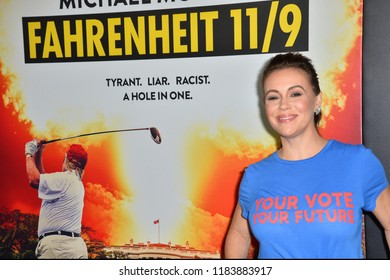 "LOS ANGELES, CA. September 19, 2018: Alyssa Milano at the Los Angeles premiere for Michael Moore's ""Fahrenheit 11/9"" at the Samuel Goldwyn Theatre."