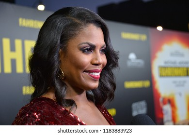 """LOS ANGELES, CA. September 19, 2018: Omarosa Manigault Newman at the Los Angeles premiere for Michael Moore's """"Fahrenheit 11/9"""" at the Samuel Goldwyn Theatre."""